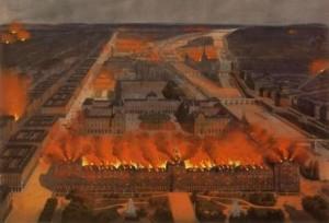 Carrousel du Louvre - Palais des Tuileries - Incendie de 1870 en cours